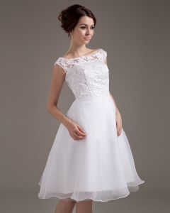 Lace Sash Jewel Short Bridal Gown Wedding Dress