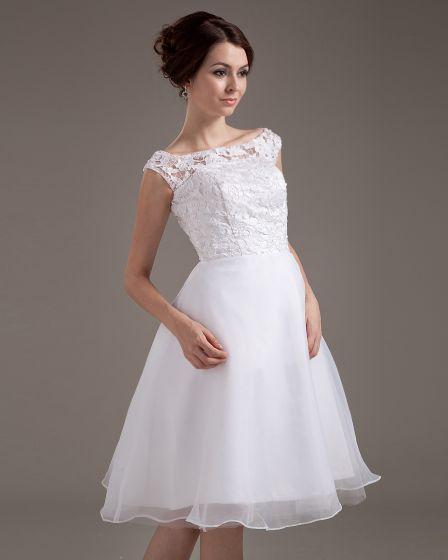 Lace Sash Jewel Short Bridal Gown Wedding Dress