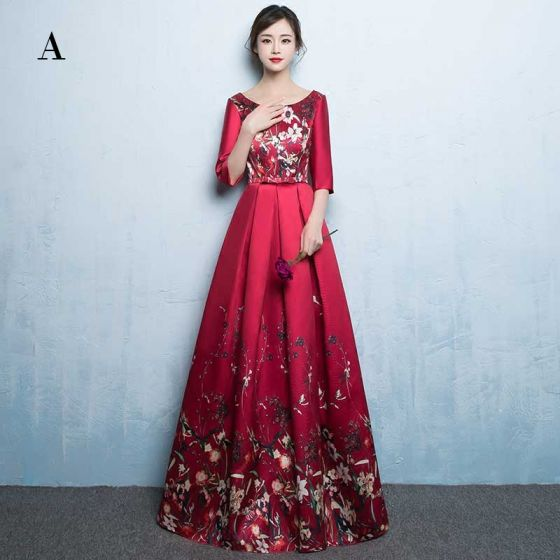 Chic / Beautiful Burgundy Evening Dresses  2017 A-Line / Princess U-Neck Charmeuse Backless Printing Evening Party Prom Dresses