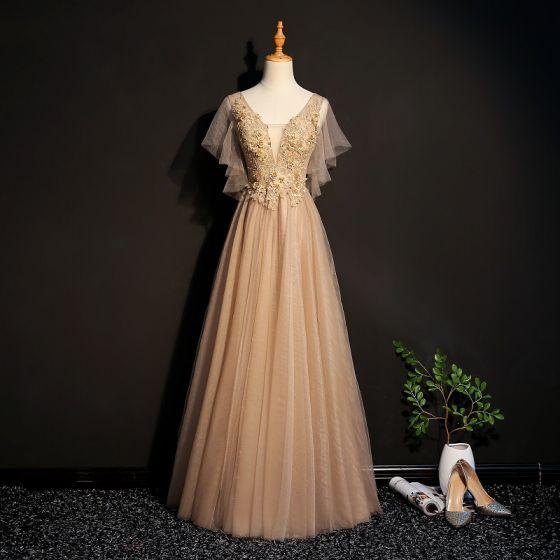 Eleganta Champagne Balklänningar 2019 Prinsessa Spets Appliqués Beading Kristall V-Hals Korta ärm Halterneck Långa Formella Klänningar