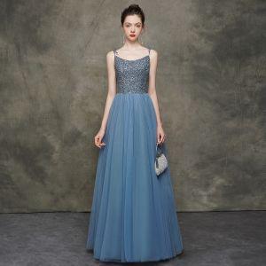 High-end Ocean Blue Evening Dresses  2020 A-Line / Princess Spaghetti Straps Sleeveless Sequins Beading Floor-Length / Long Ruffle Backless Formal Dresses