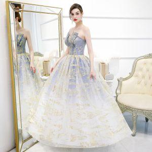 Elegant Ocean Blue Gradient-Color White Prom Dresses 2020 Ball Gown Strapless Sleeveless Glitter Tulle Floor-Length / Long Ruffle Backless Formal Dresses