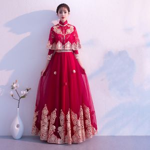 Traditional Burgundy Evening Dresses  Detachable With Shawl 2019 A-Line / Princess High Neck 3/4 Sleeve Appliques Lace Floor-Length / Long Ruffle Formal Dresses