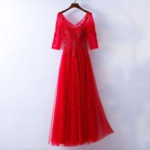 Schöne Rot Abendkleider 2017 A Linie Perlenstickerei Kristall Spitze Blumen V-Ausschnitt Rückenfreies 3/4 Ärmel Knöchellänge Abend