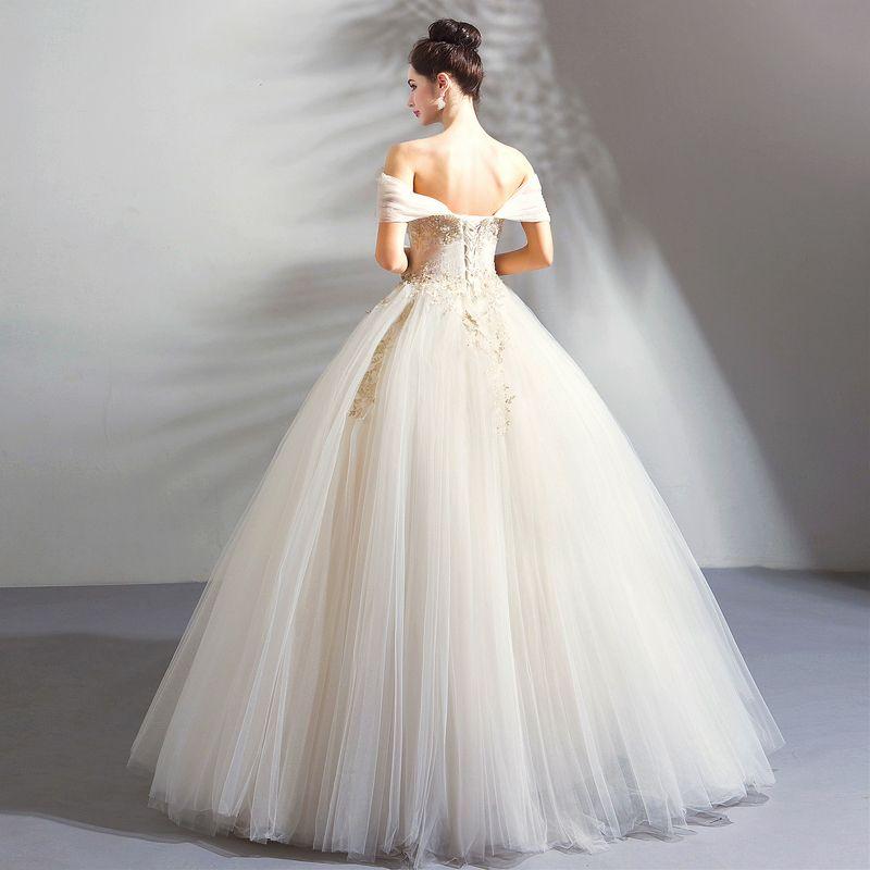 Klassisch Elegante Weiß Champagner Lange Hochzeit 2018 Tülle Schnüren Applikationen Rückenfreies Perlenstickerei Bandeau Ballkleid Brautkleider / Hochzeitskleider