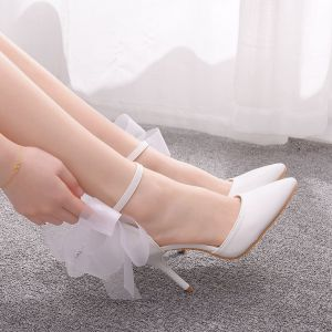 Affordable White Wedding Shoes 2020 Bow Ankle Strap 9 cm Stiletto Heels Pointed Toe Wedding Heels