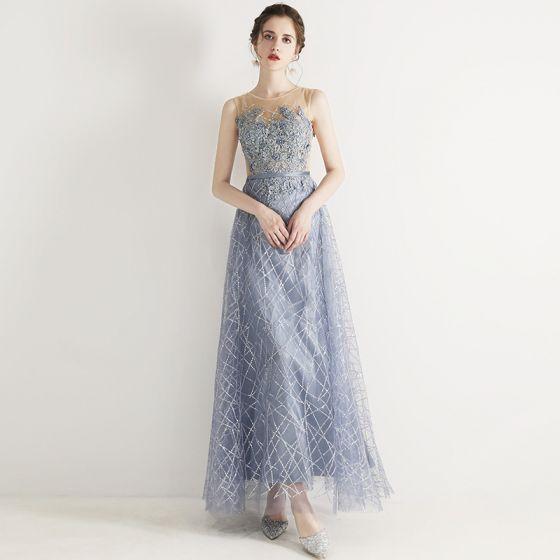 Chic / Beautiful Sky Blue Evening Dresses  2019 A-Line / Princess Scoop Neck Beading Lace Flower Appliques Rhinestone Sleeveless Floor-Length / Long Formal Dresses