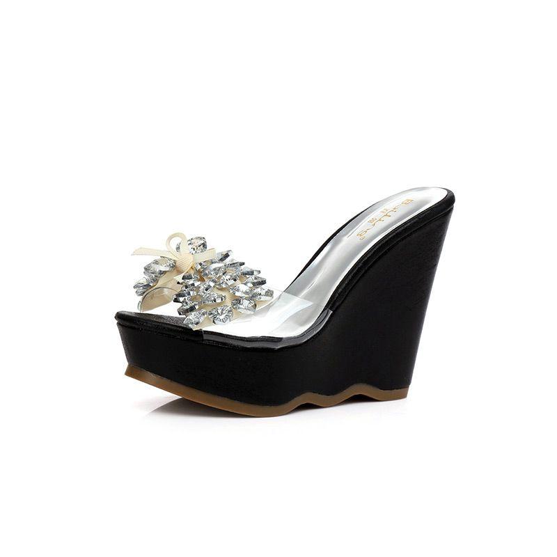 Sexy Outdoor / Garden Womens Sandals 2017 Bow Rhinestone Wedges Open / Peep Toe Sandals
