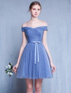 Sukienki Dla Druhen 2016 Off Ramieniu Wzburzyć Niebieskim Tiulu Krótka Sukienka