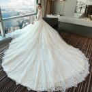 Chic / Beautiful White Wedding Dresses 2018 Ball Gown Lace Appliques Pearl Scoop Neck Backless 1/2 Sleeves Royal Train Wedding