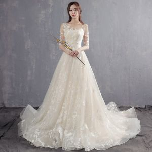 Elegant Champagne Pierced Wedding Dresses 2018 A-Line / Princess Scoop Neck 1/2 Sleeves Appliques Lace Pearl Ruffle Court Train