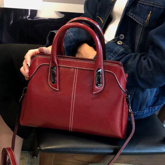 Rot Quadratische Schultertaschen Handtasche 2021 Leder Freizeit Damentaschen