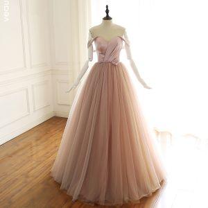 Elegant Blushing Pink Prom Dresses 2019 A-Line / Princess Off-The-Shoulder Bow Sleeveless Backless Floor-Length / Long Formal Dresses