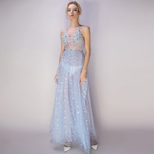 Sexy Sky Blue See-through Evening Dresses  2018 A-Line / Princess Halter Sleeveless Glitter Star Tulle Beading Pearl Rhinestone Ankle Length Ruffle Backless Formal Dresses