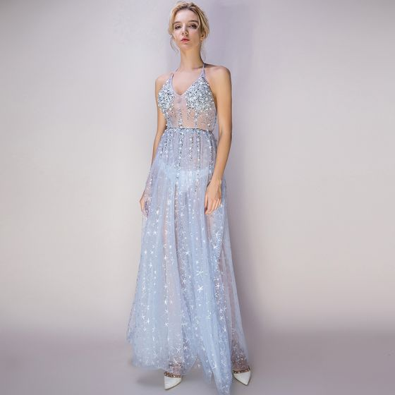 Sexy Sky Blue See-through Evening Dresses 2018 A-Line   Princess Halter  Sleeveless Glitter Star Tulle Beading Pearl Rhinestone Ankle Length Ruffle  Backless ... a6335ea4c3c7
