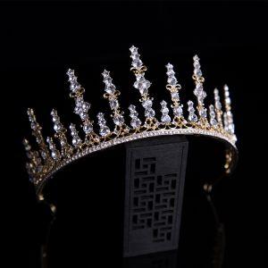 Classic Gold Bridal Hair Accessories 2020 Alloy Tiara Rhinestone Bridal Accessories
