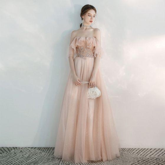 Schöne Pearl Rosa Abendkleider 2020 A Linie Off Shoulder Kurze Ärmel Applikationen Spitze Perlenstickerei Glanz Tülle Lange Rückenfreies Rüschen Festliche Kleider