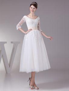 Charmiga Balklänning Urringning Spets Ärmar Te Längd Bröllopsklänningar Kort Brudklänning