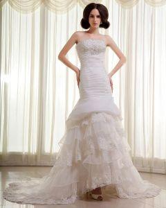 Organza Lace Beading Ruffles Strapless Chapel Train Mermaid Wedding Dress