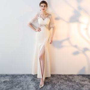 Unique Champagner Lange Abendkleider 2018 Mermaid Charmeuse 1/2 Ärmel V-Ausschnitt Schnüren Perlenstickerei Rückenfreies Stickerei Festliche Kleider