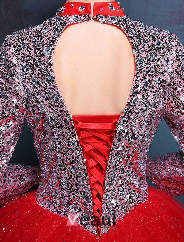 2016 Vintage High-neck Pailletten Und Kristall Roten Organza Ballkleider