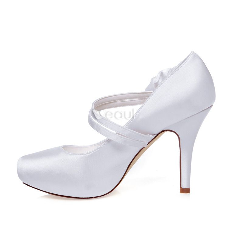 Classic Satin Bridal Shoes White Pumps Stiletto Heel 4