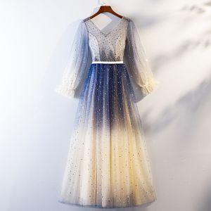 Chic / Belle Bleu Marine Dégradé De Couleur Robe De Soirée 2019 Princesse V-Cou Perlage Cristal Étoile Paillettes Ceinture Manches Longues Longue Robe De Ceremonie