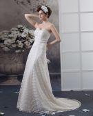 Perlant Etage Longueur Robe En Dentelle De Mariée Empire
