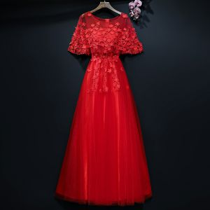 Chic / Beautiful Red Evening Dresses  2017 A-Line / Princess Lace Flower Artificial Flowers Scoop Neck 1/2 Sleeves Ankle Length Formal Dresses