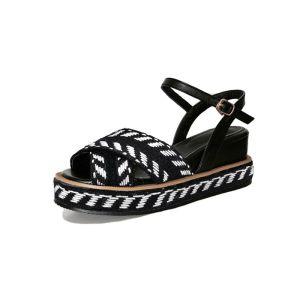 Schlicht Freizeit Schwarz Sandalen Damen 2017 Peeptoes Flache Zebramuster 7 cm Sandaletten