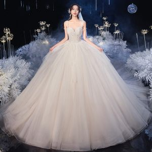 Luxury / Gorgeous Ivory Bridal Wedding Dresses 2020 Ball Gown Scoop Neck Sleeveless Backless Sequins Beading Cathedral Train Ruffle
