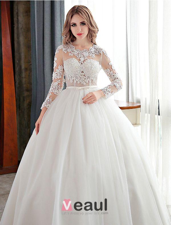 Elegante Spitze Brautkleid Mit U Ausschnitt Bohrt Brautballkleid Mit Schärpe