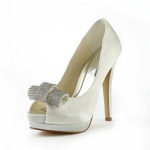 Belles Chaussures De Mariée Ivoire Stilettos Talon Haut Escarpins De Compensée Peep Toe