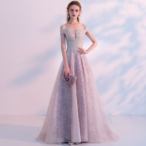 Sexy Grey See-through Prom Dresses 2018 A-Line / Princess Off-The-Shoulder Short Sleeve Appliques Lace Rhinestone Sweep Train Ruffle Formal Dresses