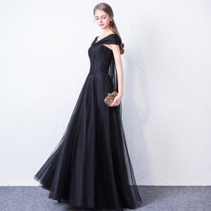 Chic / Beautiful Black Prom Dresses 2018 A-Line / Princess V-Neck Short Sleeve Bow Beading Floor-Length / Long Ruffle Backless Formal Dresses