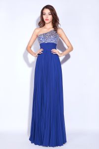 2015 A-line One Shoulder Floor Length Sequins Chiffon Evening Dresses