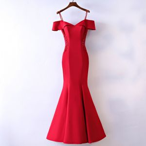 Sexy Red Evening Dresses  2017 Trumpet / Mermaid Lace Flower Crystal Sequins Zipper Up Off-The-Shoulder Spaghetti Straps Short Sleeve Ankle Length Evening Party