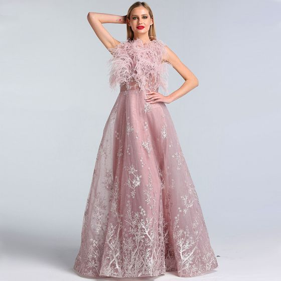 High-end Blushing Pink See-through Evening Dresses  2020 A-Line / Princess Scoop Neck Sleeveless Feather Appliques Lace Rhinestone Floor-Length / Long Ruffle Formal Dresses