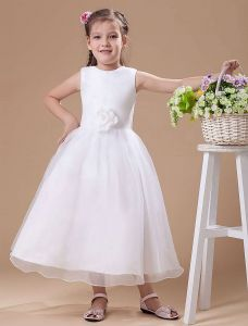 White Vintage Satin Flower Girl Dress