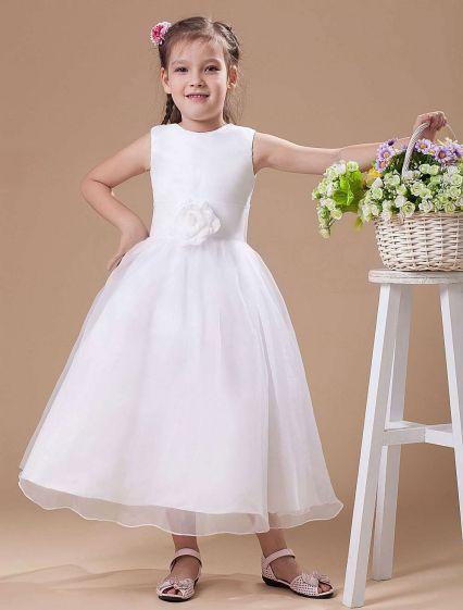 White Vintage Satin Flower Girl Dress