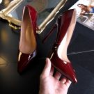 Classy Burgundy Evening Party Pumps 2019 Patent Leather 12 cm Stiletto Heels Pointed Toe Pumps