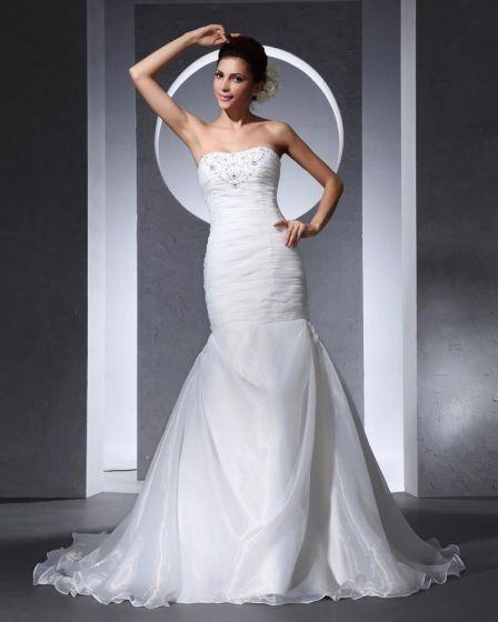 Strapless Floor Length Beading Pleated Organza Satin Woman Mermaid Wedding Dress