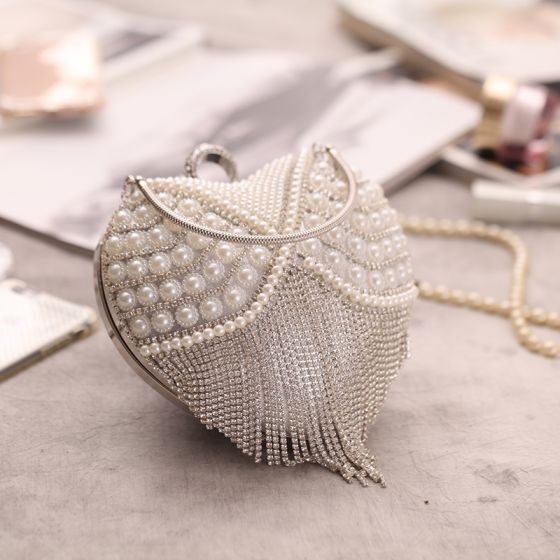Luxury / Gorgeous Silver Beading Pearl Rhinestone Tassel Heart-shaped Metal Clutch Bags 2018