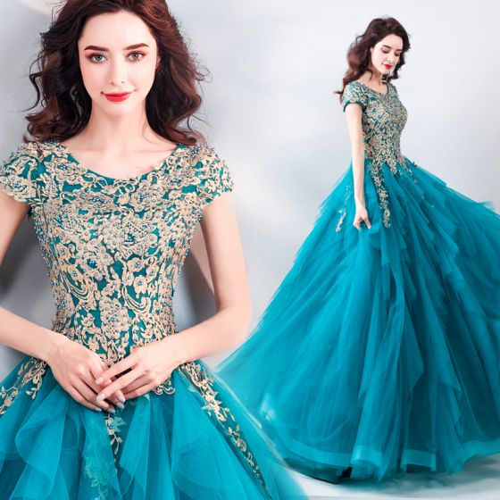 Best Jade Green Dancing Prom Dresses 2021 Ball Gown Scoop Neck Sleeveless Appliques Lace Beading Pearl Floor-Length / Long Ruffle Formal Dresses
