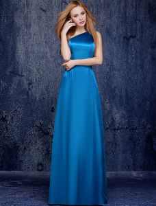 Einfach Ein-schulter-boden-länge Meeresblau Seide Brautjunferkleider