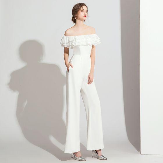 Elegant Ivory Jumpsuit Evening Dresses  2021 Ruffle Off-The-Shoulder Short Sleeve Backless Evening Party Floor-Length / Long Formal Dresses