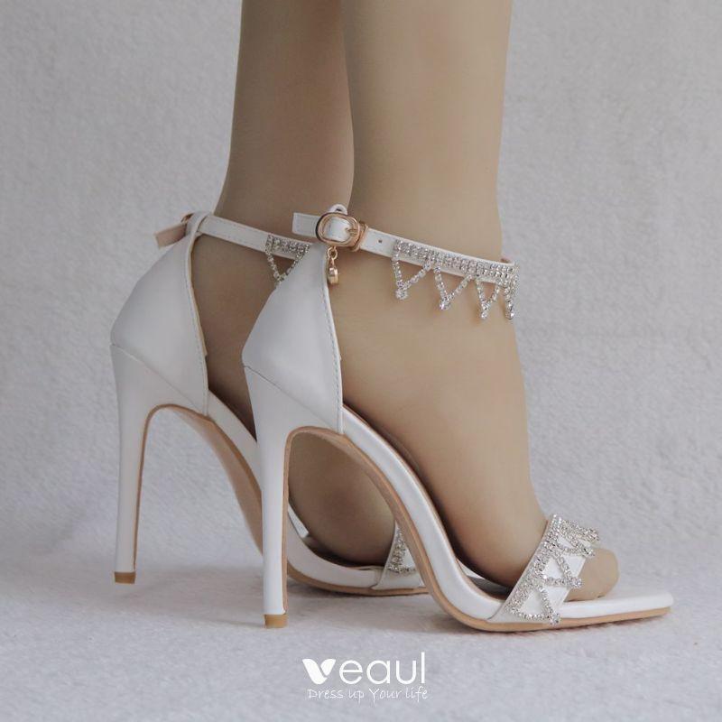 Moderne Mode Blanche Soirée Sandales Femme 2018 Faux
