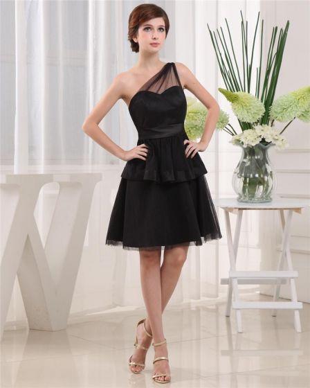 Schrägen Ausschnitt Ärmellos Oberschenkellänge Plissiertem Tüll Frau A-linie Kleinen Schwarzen Partykleid