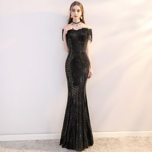 Bling Bling Black Sequins Evening Dresses  2019 Trumpet / Mermaid Off-The-Shoulder Short Sleeve Tassel Floor-Length / Long Formal Dresses