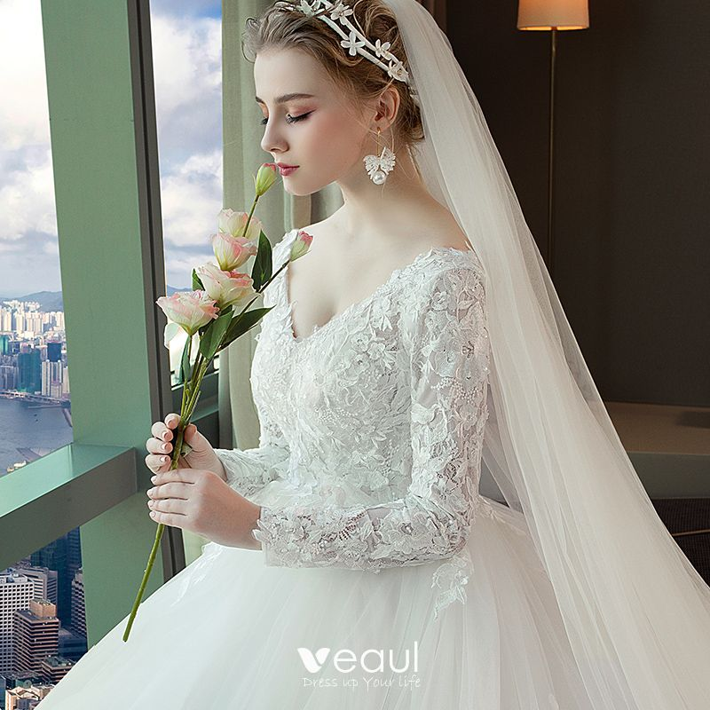 Long Sleeve Lace Wedding Dresses Ball Gown Backless: Chic / Beautiful White Wedding Dresses 2018 Ball Gown Lace
